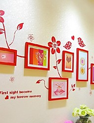 Red Photo Frame Collection Set of 7 with Flower Wall Sticker