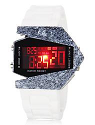 reloj blanco del silicón de los hombres del estilo del aeroplano colorido caja de cerámica digital del LED