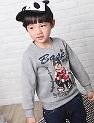 Boy's Ronde Collor Bear Print Cartoon Sweatshirt