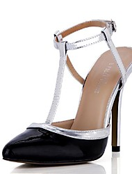Patent Leather Women's Stiletto Heel T-Strap Sandals Shoes with Buckle