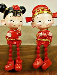 Tema asiática novia y del novio de la estatuilla decorativa