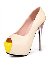 Faux Patent  Leather  Women's Fashion Sexy  High-heel Peep-toe Heels  More Colors