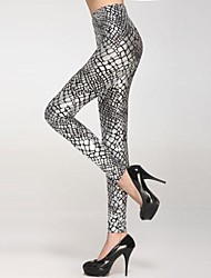 Women's Metallic Scale Veins Legging Silver