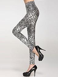 Feminino Escala Metallic Veias Legging Prata