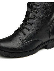 Real Leather Women's Motorcycle Chunky Heel Mid-Calf Combat Boot