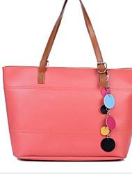 Erlen Women's Korean Style Solid Color Tote/One Shoulder Bag(Watermelon)