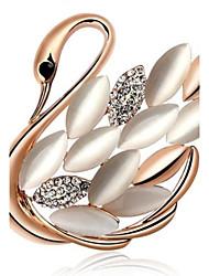 Fashion Gold-Plated Swans Cat Eye Brooch