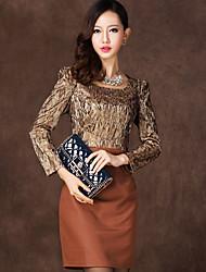 Duolabana donne di marca Corte temperamento nobile lungo Vestito con maniche (Gold)