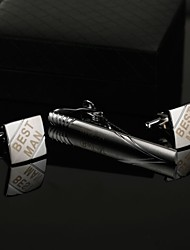 Gift Groomsman Personalized Square Cufflinks and Tie Clip Sets with Gift Box