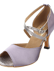 Customized Women's Satin & Snake Skin Cross Strap Sandals Latin Dance Shoes