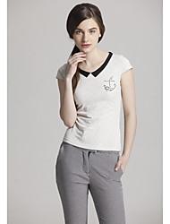 Doux Pan Collar Couleur gaine Casual T-shirt blanc de Zoely femmes 101121T054