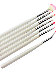 7PCS Nail Art Painting Brush White Handle Kits