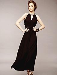 MH спинки бисера Тонкий платье (кофе)