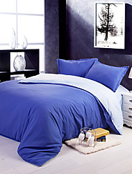 Monton Dark Blue And Light Blue Aloe Vera Cotton Pure Color Four Pieces Set Of Cover,Sheet And Pillowcases