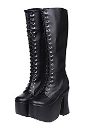 Black Lace-up-Apparat Classic Lolita 14cm High-Heels Boots