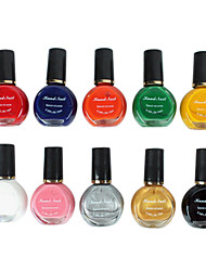 10PCS Mixed-Color Stamping Nail Polish Nail Art Printing Kits(12ml)