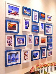Blue White Mixed Color Photo Frame Collection Set of 22