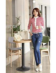 Stripe Lace T shirt das mulheres