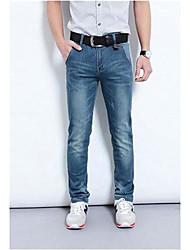 Azul Casual Denim Jeans rectos de los hombres