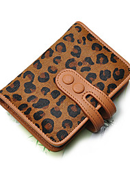 Woman's Leopard Horsehair Sheepskin Double Button Card & ID Holders