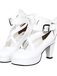Schuhe Klassische/Traditionelle Lolita Prinzessin Stöckelschuh Schuhe Schleife 7 CM Weiss Für Damen PU - Leder/Polyurethan Leder