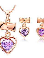 Heart Purple Silver Plated (Necklaces&Earrings) Wedding Jewelry Sets