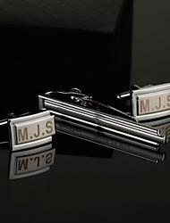 Gift Groomsman Personalized Engraved Cufflinks and Tie Clip Sets