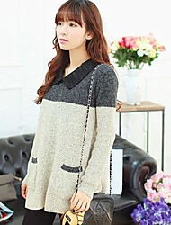 Maternity Cute Shirt Collar with Back Button Loose Knitwear