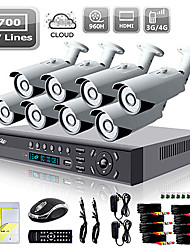 Liview® 8CH HDMI 960H Network DVR 700TVL Outdoor Day/Night Security Camera System