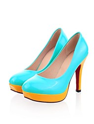 Falso das mulheres de couro de patente Plataforma Moda High Heel Bombas mais cores