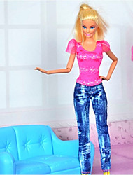 Barbie Doll Fashion Office Lady Fuschia & Blue Polyester Casual Suit