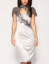 Moda Lace vestido de festa da Mulher