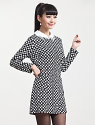 Women's Shirt Collar Floral Print  Long Sleeve Fitted Lady Midi Dress