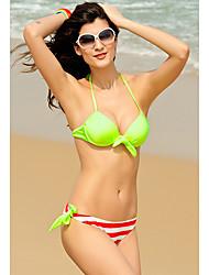 Top acolchado de las mujeres con rayas Panty Bikini