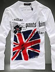 Herren T-shirt-Druck Freizeit / Büro Baumwolle Lang-Weiß / Grau