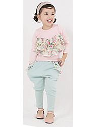 Coreano Floral Sets Roupas de impressão da menina