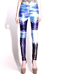 Elonbo Charming Mountain Style Digital Painting High Women Free Size Waisted Stretchy Tight Leggings