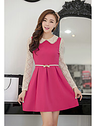 1618 Women's Sweet Pan Collar High Waist Lace Chiffon Dress