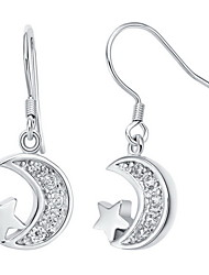 Sweet Silver Plated Silver With Cubic Zirconia Star And Moon Drop Women's Earring