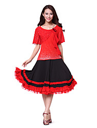 Dancewear Women's Cotton Rhinestone Ruffle Flower Ballroom Dance Tops(More Colors)