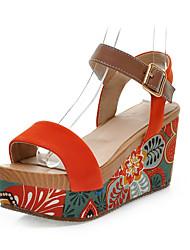 Zapatos de mujer - Plataforma - Plataforma / Creepers - Sandalias - Vestido - Ante - Negro / Naranja