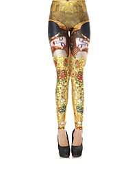 Elonbo People Image Style Digital Painting High Women Free Size Waisted Stretchy Tight Leggings