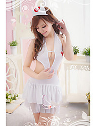Bybs Women's White Nurse Uniform Style Chiffon Nightwear