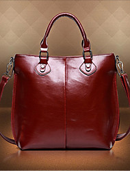 Erlen Women's European Style Simple Solid Color Tote/Crossbody Bag(Wine)