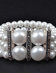 1PC Three Rows Metal Bar Stoneset Pearl Bracelet