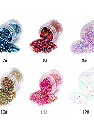 1PCS Hexagonal Glitter Tablets Nail Art Decorations NO.7-12(Assorted Colors)