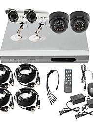 de muy bajo precio de 4 canales CCTV DVR kit (H. 264, 2 al aire libre a prueba de agua y 2 interiores cámaras de infrarrojos)