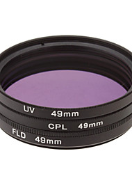 CPL + UV + FLD Filter Set for Camera with Filter Bag (49mm)