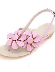 женские низкий каблук флип-флоп сандалии с цветами обуви (больше цветов)