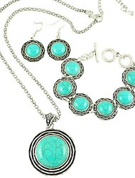 europeo collar de turquesa de la aleación pendiente del estilo y conjunto braceletjewelry